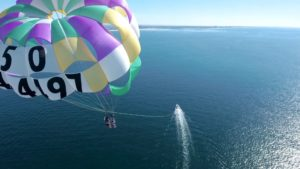 View from above a tandem parasail, high above the Pacific